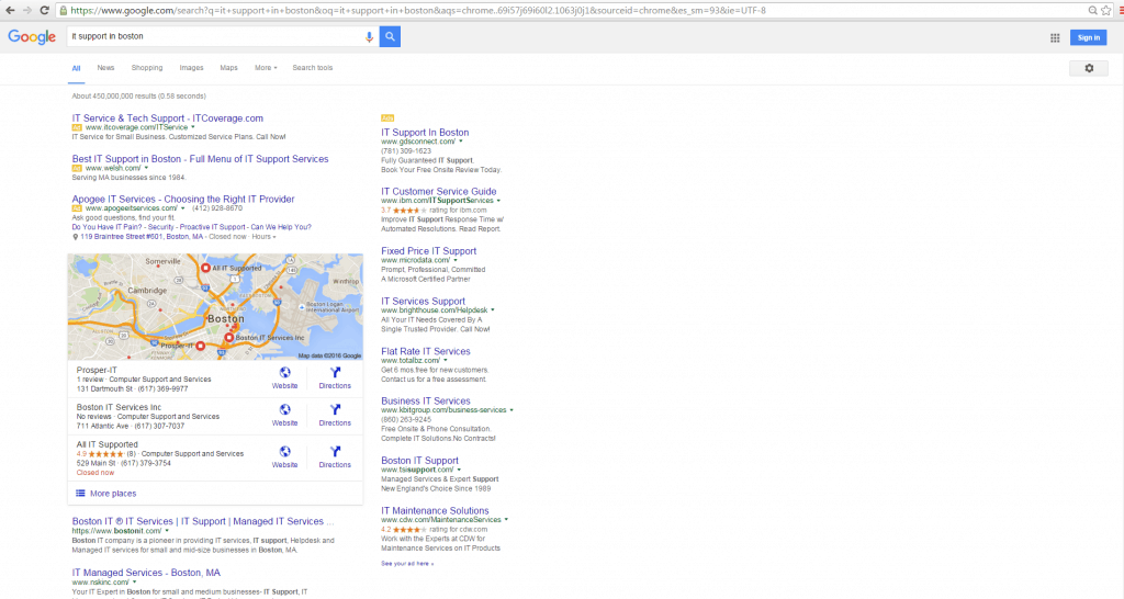 local seo map pack ranking for keyword it support in boston
