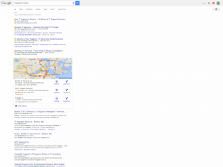 page one google map pack and organic seo rankings for keyword it support in boston