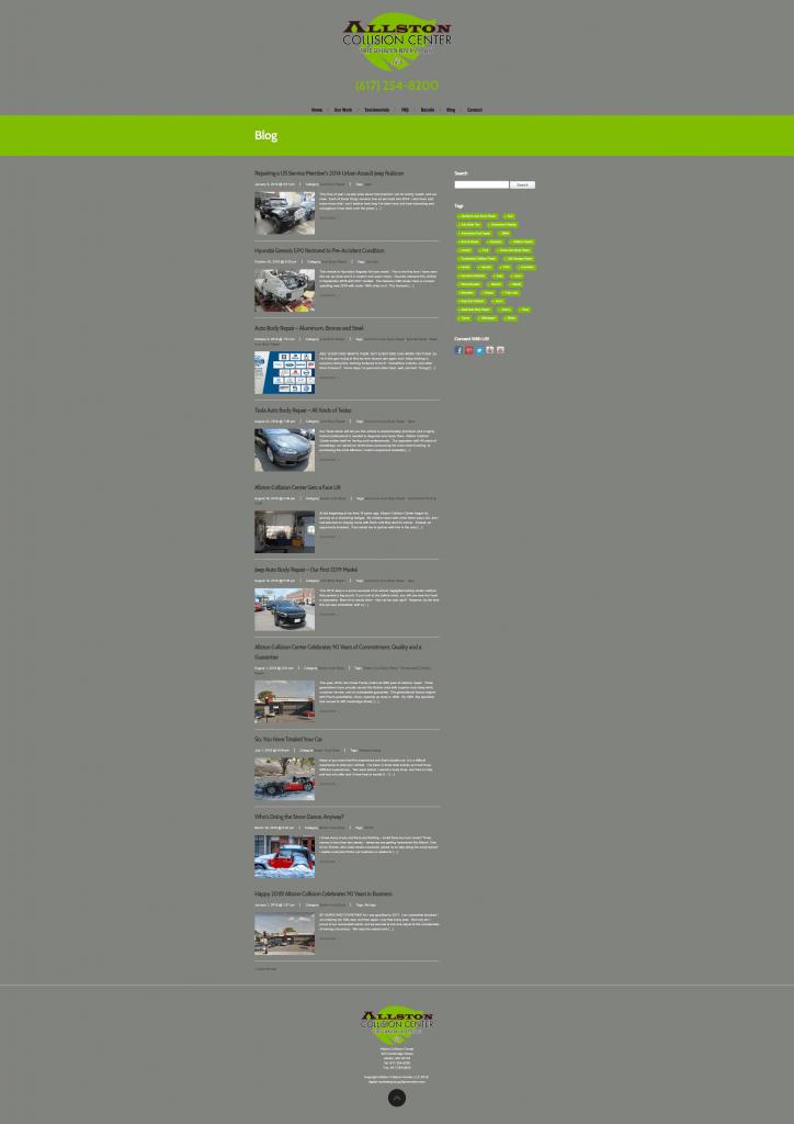 allston collision center web design blog page