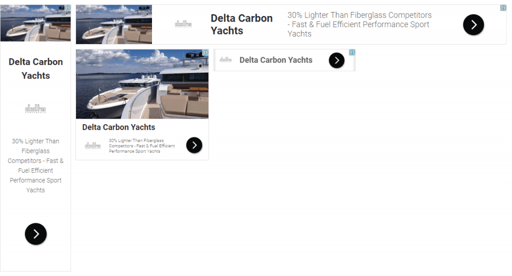 responsive google display ads for delta carbon yachts marketing