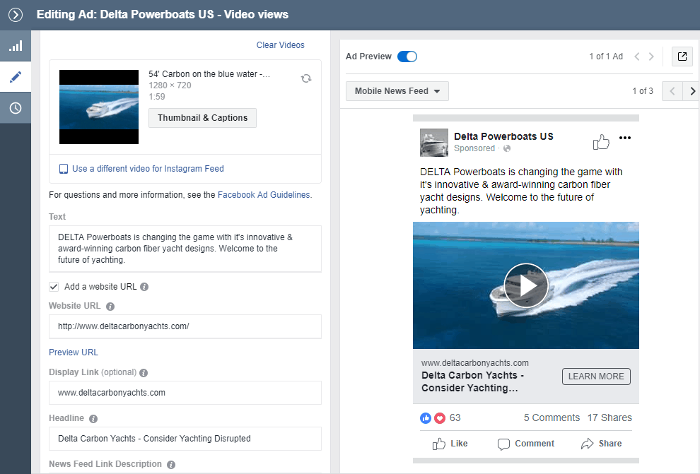 facebook video ads marketing for delta carbon yacht 54