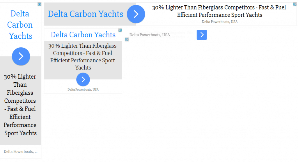google display text ads for delta carbon yachts marketing