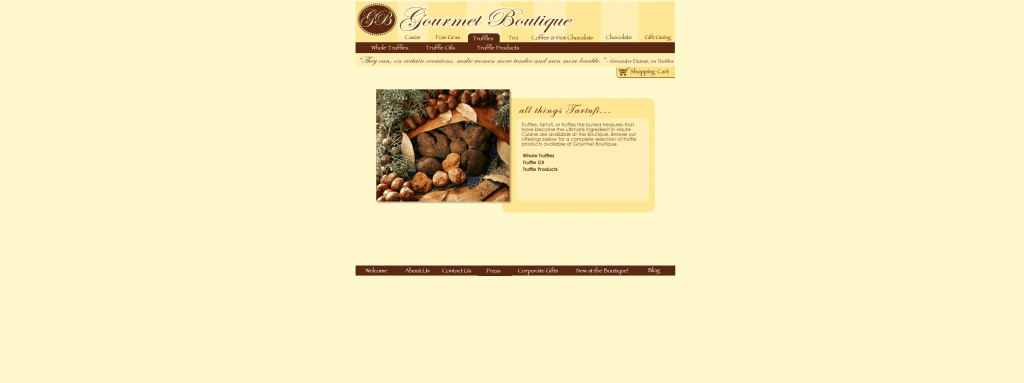 gourmet boutique category page before ecommerce web design