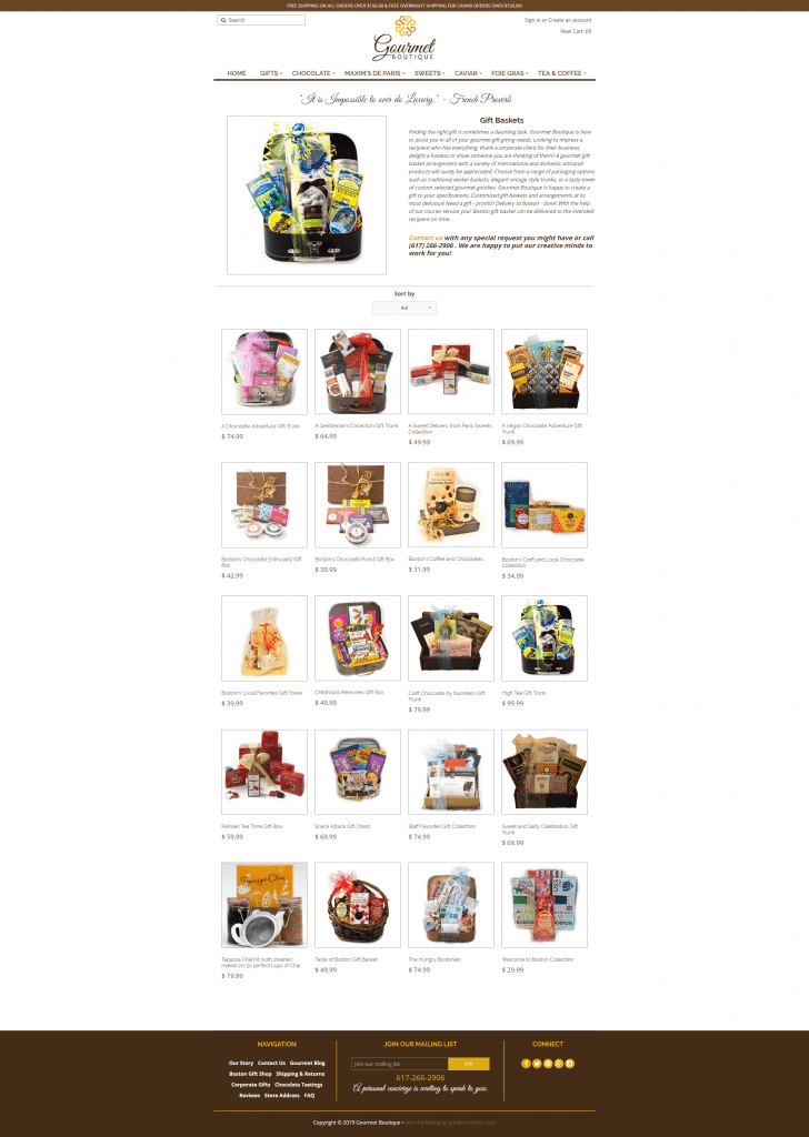 gourmet boutique category page ecommerce web design