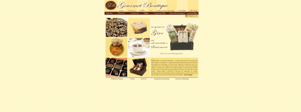 gourmet boutique homepage before ecommerce web design project