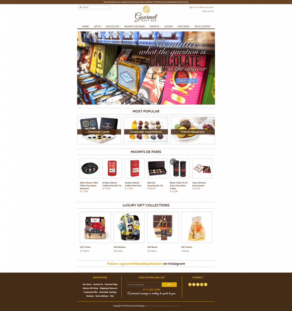 gourmet boutique homepage ecommerce webdesign