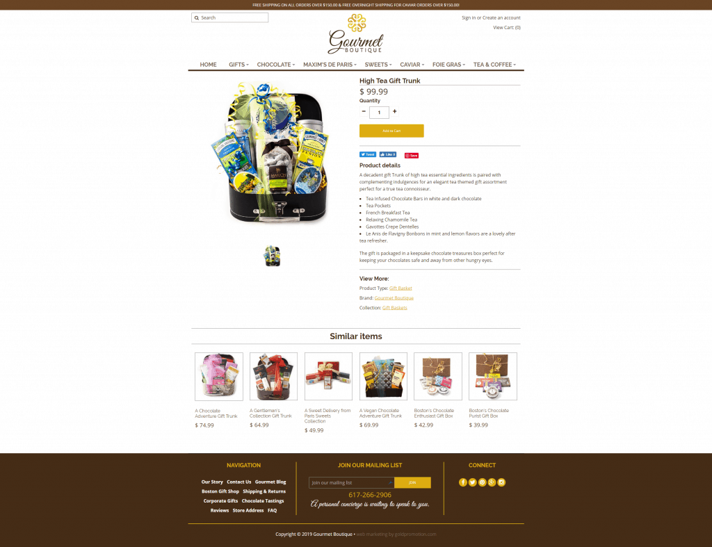 gourmet boutique product page ecommerce web design