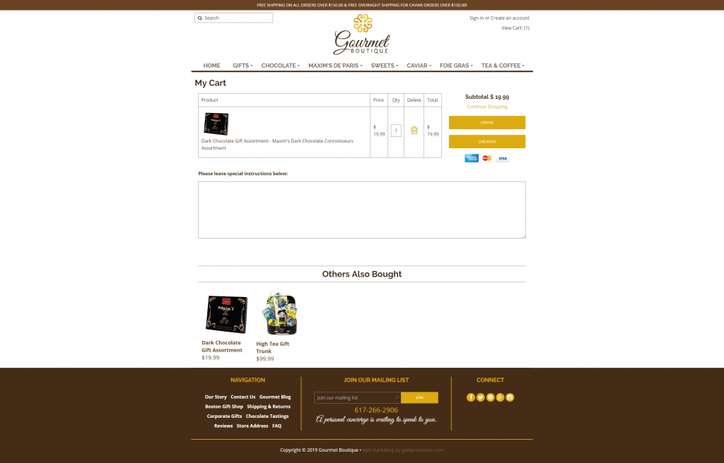 gourmet boutique shopping cart checkout ecommerce webdesign