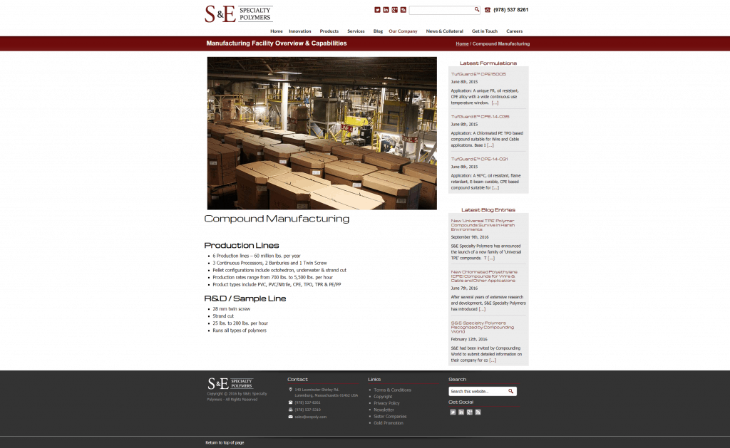 manufacturing facility overview page web design