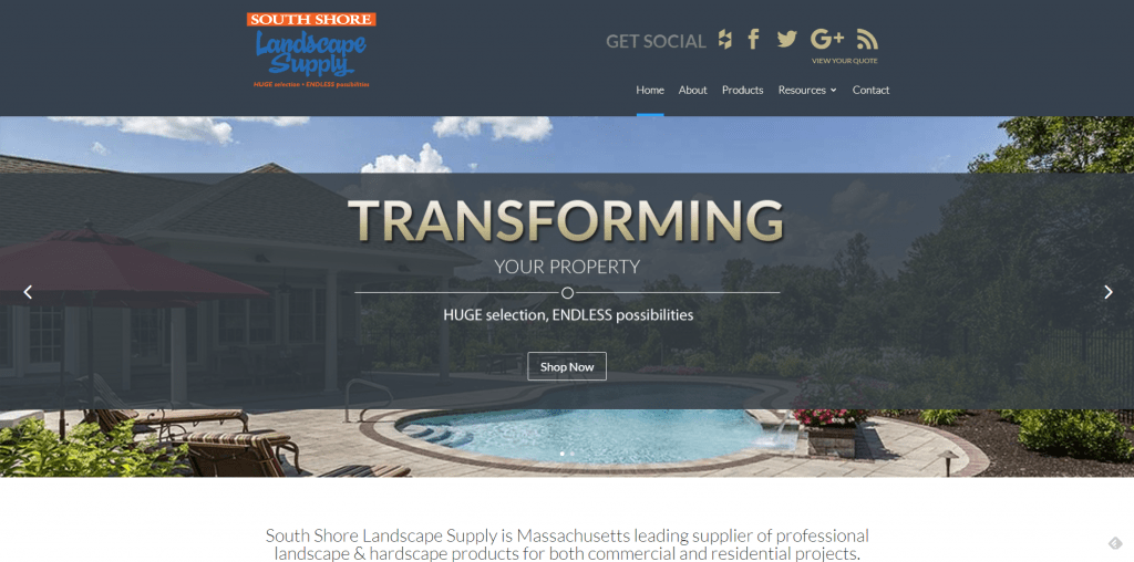 landscape supply company ecommerce website design