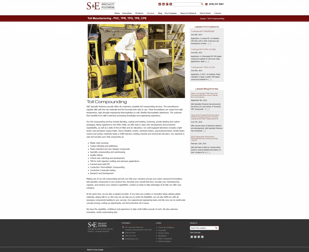 toll manufacturing service page web design